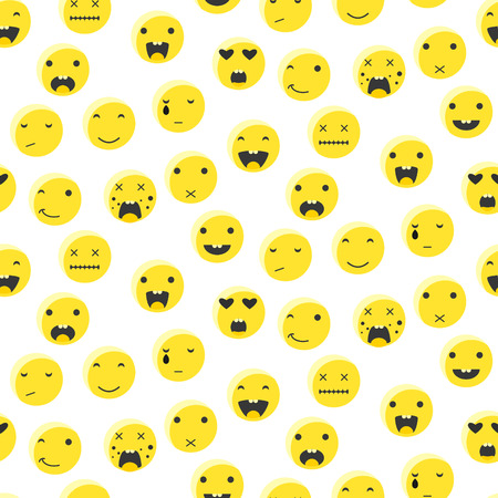 Yellow round smile emoji seamless pattern. Emoticon icon flat style vector background. Expression comic emoji. Smiley face icons. Illustration