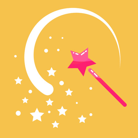 sway: Magic wand stars flat icon cartoon illustration. Princess pink  magic stick with sway wave track. Fairy props object.