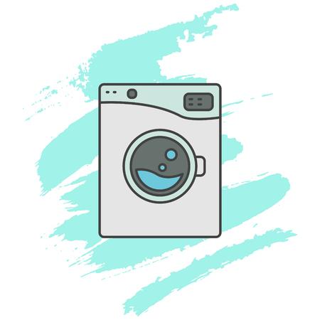 washer machine: Washing machine line icon sign. Outlined automatic washer symbol. Blue aqua brush strokes on background. Illustration
