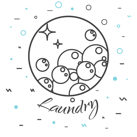 laundry line: Laundry service company  badge. Wash business label for  template. Soap bubbles in round line icon with signs on background.