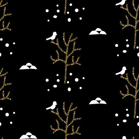 bird illustration: Glitter scandinavian black tree ornament. Vector gold tree woods with black bird seamless pattern collection. Modern shimmer details stylish texture.