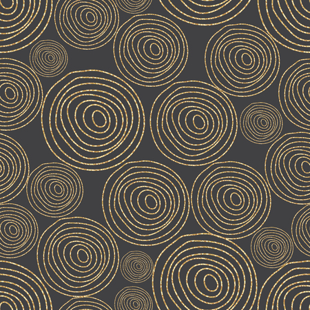 shimmer: Glitter shimmer spiral circles seamless pattern gold on black. Geometric line round shapes. Tree cork wood texture.