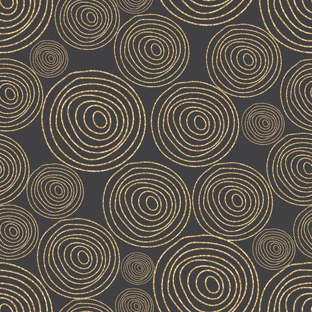 cork wood: Glitter shimmer spiral circles seamless pattern gold on black. Geometric line round shapes. Tree cork wood texture.