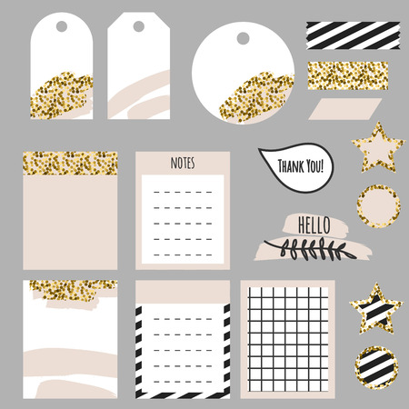 accents: Journaling planner card notes and tags. Memo stickers for organizers and diary. Gold glitter and pastel pink accents decor. Illustration
