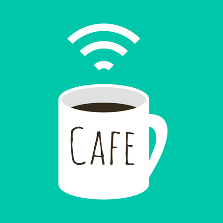 cybercafe: Wifi cafe vector illustration. A cup of coffee and wi fi sign. Internet free zone sign in flat style. Illustration