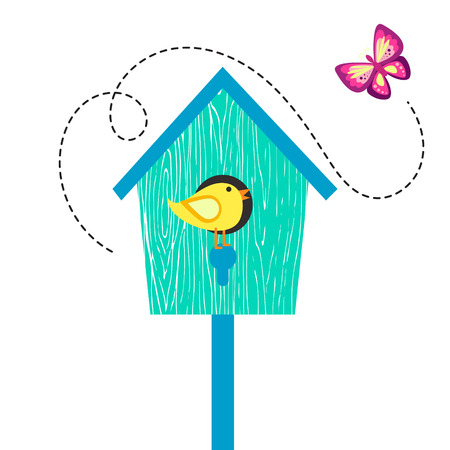 perch: Blue cartoon bird house with birdie on perch and butterfly. Birdhouse isolated on white cute vector illustration.
