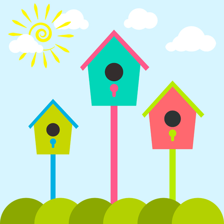 nest: Nesting box cartoon set. Meadow with colorful bird houses. Nesting houses for birds and spring sun, flat cartoon style. Illustration