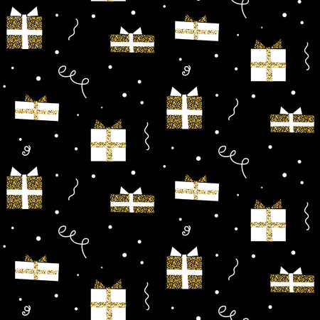 shimmer: Glitter scandinavian gift black ornament. Vector gold birthday gift boxes seamless party wrap pattern collection. Modern shimmer details stylish texture.