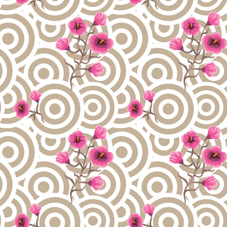 taupe: Japanese wave oriental seamless pattern. Asian style pattern with sakura bloom flowers and beige geometric shapes.