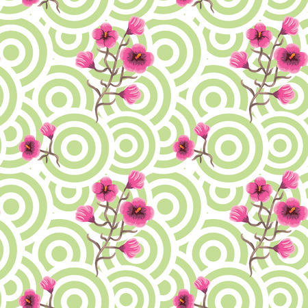 to bloom: Japanese wave oriental seamless pattern. Asian style pattern with sakura bloom flowers and geometric green shapes. Illustration