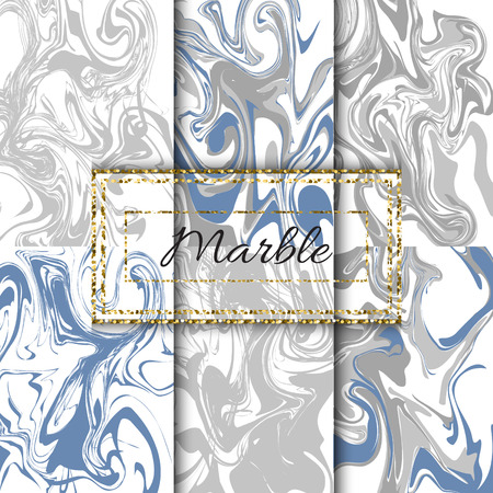 Marble texture vector set. Hand drawn blue and grey ink watercolor marble pack.