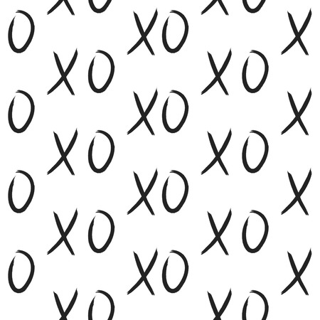 XOXO hugs and kisses seamless pattern. Hand drawn trendy hipster black and white XO background. Ink grungy brush texture.