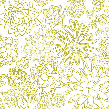 dense: Succulent garden dense line doodle seamless pattern. Outline green plants and flowers repeatable ornament for fabric and cards.