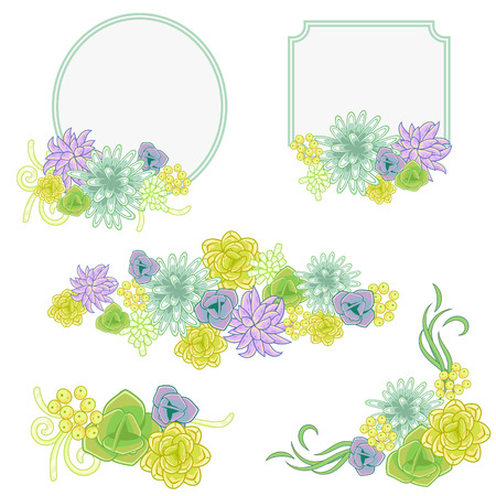 violet flower: Floral banner card set. Green and violet flower invitation badge cards vector. Wreaths, bouquets, bunches and corner decoration for card template. Illustration