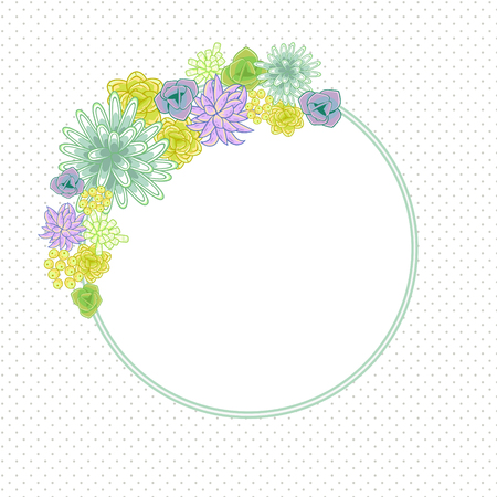 violet flower: Flower round circle card template vector. Mums, roses and succulents wedding invitation or greeting card design. Green and purple violet flower decor. Illustration