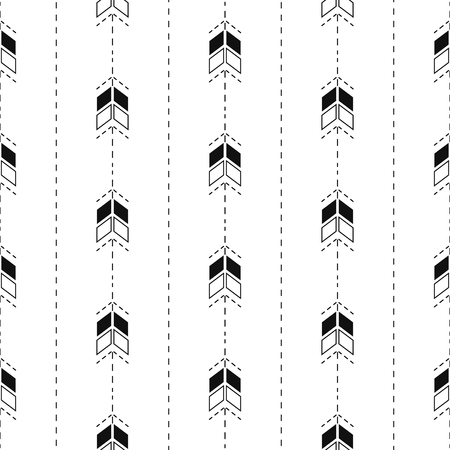 dashed line: Small arrow line seamless pattern. Tiny thin arrows in dashed line rows tileable white background. Illustration