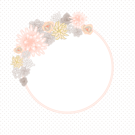 violet flower: Flower round circle card template vector. Mums, roses and succulents wedding invitation or greeting card design. Cream pink and beige violet flower decor.