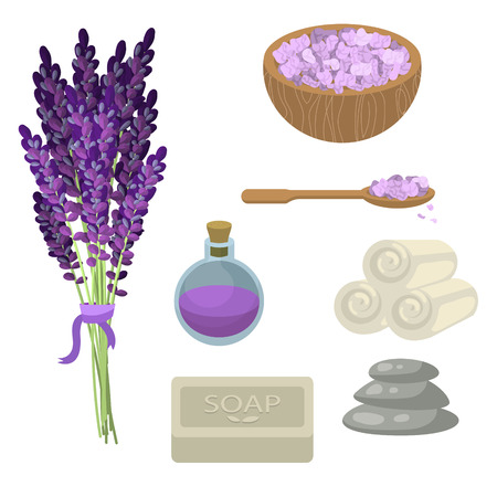 beautify: Spa salon relaxation accessories. Lavender flowers, oil bottle, sea salt in a bowl, set of twisted towels, soap and pebble stones for massage. Spa healthcare set.