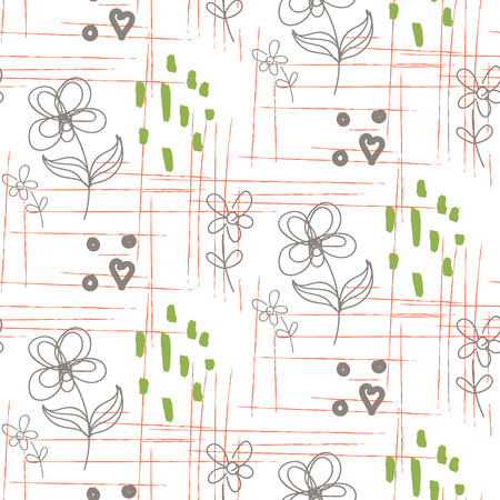 smears: Rustic hand drawn flower white seamless pattern. Line style florals and rough smears design for cotton or linen textile. Illustration