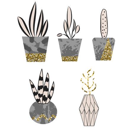 flower pots: Cement flower pots with plants and gold glitter graphic decor. Home plants in concrete pots. Illustration