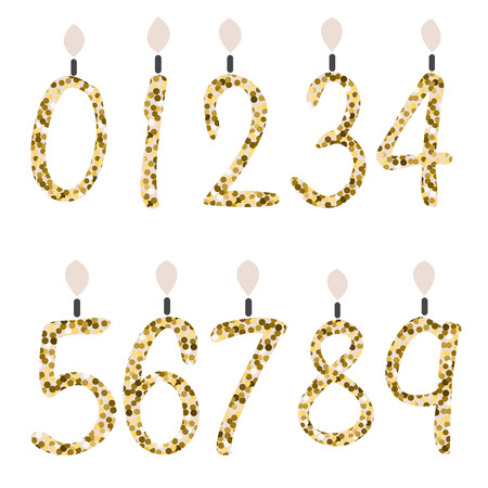 glam: Birtday candles. Celebration number gold glitter candles. Girly fashion glam glitter digits for party decor. Illustration