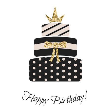 여자를위한 글램 생일 케이크. 검은 색과 파스텔 핑크, 스트라이프, 3 계층 케이크를 점선. 골드 반짝이 왕관 토핑.