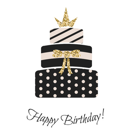 Glam birthday cake for girls. Black and pastel pink, striped, dotted three-tier cake. Gold glitter crown topping.