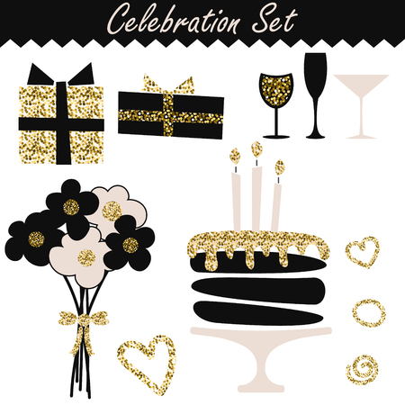 Celebration black and gold fashion birthday set objects. Wedding or feast event accessories. Bouquet, cake, wineglass, gift boxes. Vectores