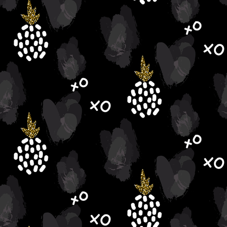 xoxo: Glitter black scandinavian xoxo pineapple ornament. Vector gold seamless pattern collection. Modern shimmer details and pink brushstrokes stylish texture.
