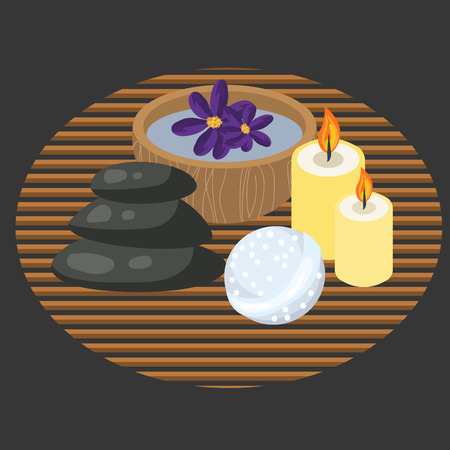 swimming candles: Spa procedure accessories on makisu mat. Spa massage pebbles, candles, bath bomb and aroma water in bowl.