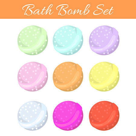 bombs: Set of bath bubble bombs. Bath aroma vector bombs for relaxation.