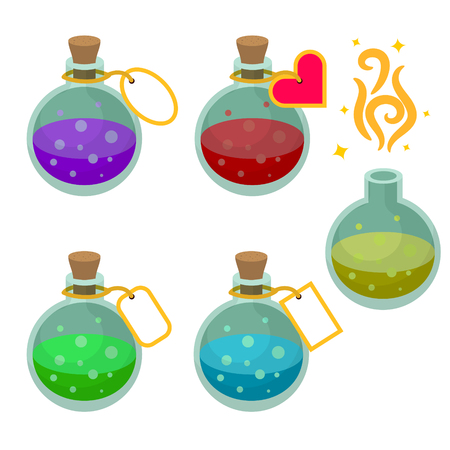 with liquids: Magic potion bottles with tags. Set of game asset potions with different liquids.
