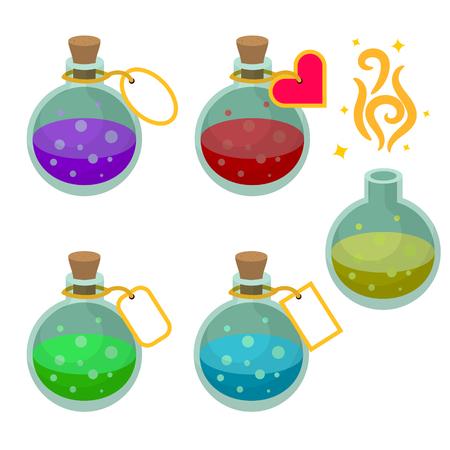 Toverdrank flessen met markeringen. Set van het spel actief drankjes met verschillende vloeistoffen. Vector Illustratie