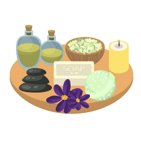 swimming candles: Spa set accessories on wooden tray. Aroma oils, pebbles, soap, bath bomb, sea salt and candles. Set for relax spa procedures. Illustration