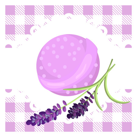 scent: Bath bubble bomb. Aromatherapy lavender scent bomb badge. Illustration