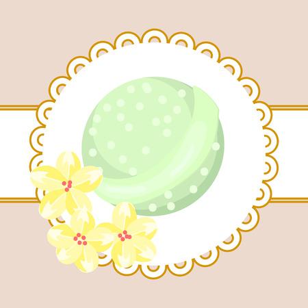 flower bath: Bath bubble bomb. Aromatherapy green flower bomb badge.