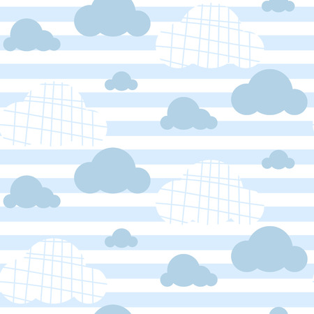 Baby boy vector seamless pattern. Light blue fun sky clouds print for textile fabric. Kids room decor print for wall, linen, surfaces.