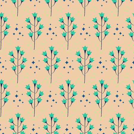 bluebell: Wild pastel bluebell flower spring field seamless pattern. Floral tender fine summer vector pattern on beige background. For fabric textile prints and apparel.