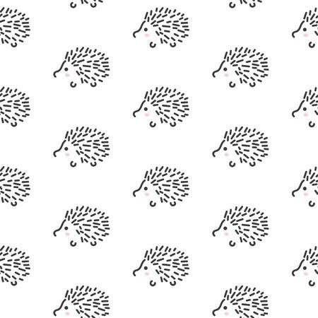 Hedgehog stilisierte Linie Spaß nahtlose Muster für Kinder und Babys. Netter Tiergewebeentwurf für die Textilwäsche und Bekleidung in den skandinavischen einfachen Stil. Vektorgrafik