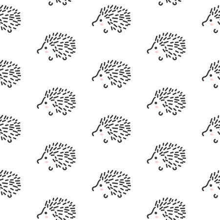 Hedgehog stylized line fun seamless pattern for kids and babies. Cute animal fabric design for textile linen and apparel in scandinavian simple style.