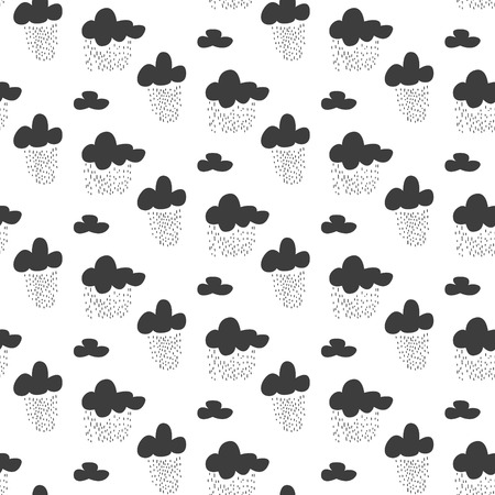 rainy sky: Baby vector seamless pattern. Black fun rainy sky print for textile. Kids room decor print for wall, linen, surfaces. Illustration