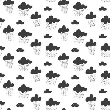rainy sky: Baby vector seamless pattern. Black fun rainy sky print for textile. Kids room decor print for wall, linen, surfaces. Illustration