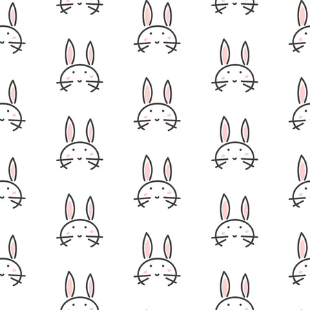 kids fun: Bunny stylized line fun seamless pattern for kids and babies. Cute animal fabric design for textile linen and apparel in scandinavian simple style.