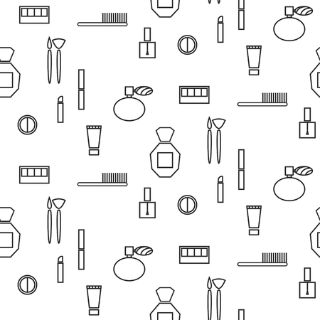 makeup products: Makeup objects and products seamless pattern. Outline thin cosmetic icons for website background or wrapping paper.