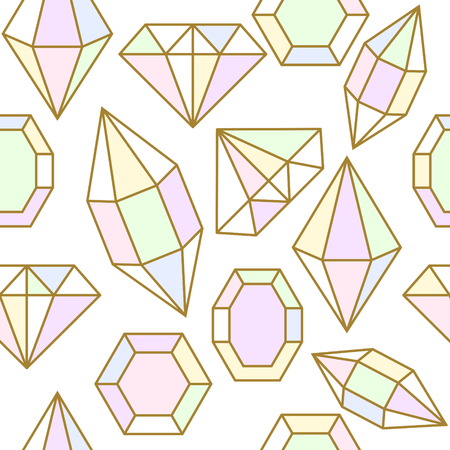 facet: Diamond jem shape holographic chameleon facet seamless pattern. Diamond geometric golden outline objects.