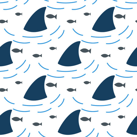 flipper: Shark fin in water waves seamless pattern. Flipper and fish in the sea white and blue background surface. Illustration
