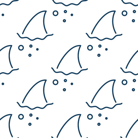 flipper: Shark fin in water waves seamless pattern. Flipper of fish in the sea white and blue background surface in outline style.
