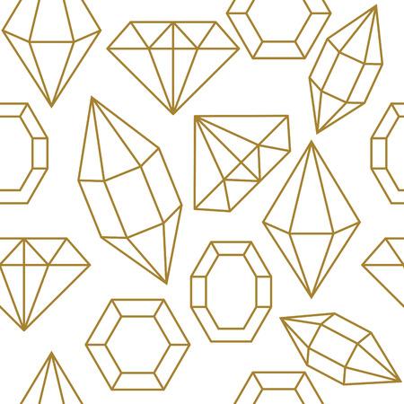 stud: Diamond jem shape golden line seamless pattern. Diamond geometric outline objects on white background.