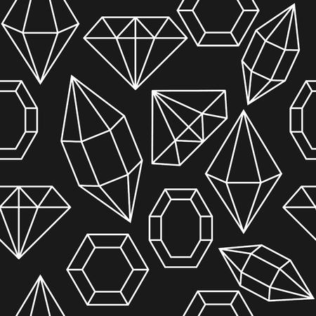 karat: Diamond jem shape seamless pattern. Diamond white geometric outline objects on dark grey background.