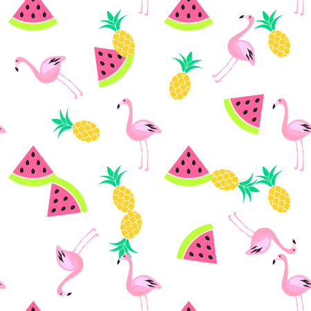Tropic summer seamless white pattern with watermelon, flamingo and pineapples. Pink and yellow fun pattern. Vettoriali